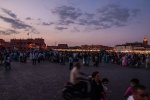 Gathering of masses at dusk on Djemaa el-Fnaa