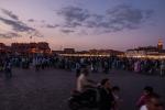 Gathering of masses at dusk on Djemaa el-Fnaa