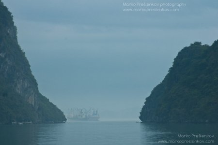 Cargo ship in the mist