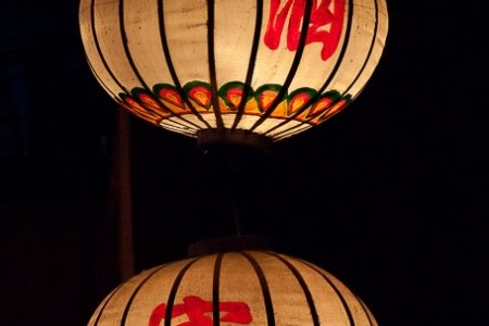Two silk lanterns