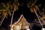 Wat Haw Pha Bang between the palm trees