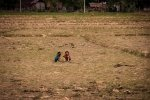 Lao girls playing in the field