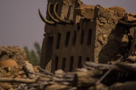 Mud wall in Anakanda village