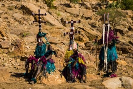 Three traditional Dogon masks waiting