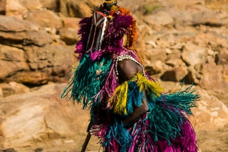 Traditional Dogon mask in full swing