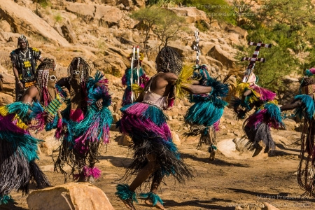 Dogon masks dancing in a circle