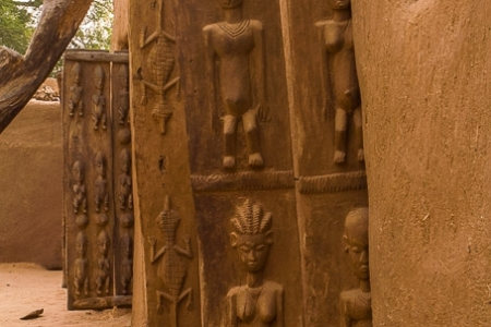 Traditional wooden Dogon doors