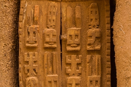 Traditional wooden Dogon shutters