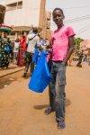 Blue bags seller