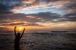 Sunset bathing on Sugar beach