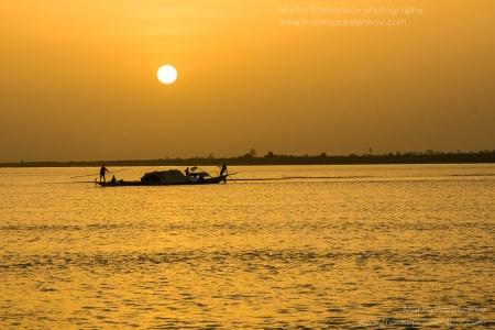 Floating at dusk