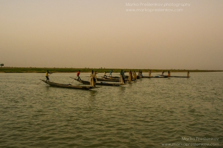 Line of fishing boats